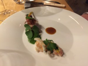 Veal, langostino, quail's egg, lily, mustard seed