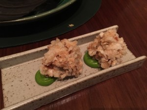 Stewed rabbit in a crisp onion tapioca coating with lovage emulsion