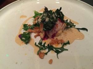 Narive lobster, kale leaves in lobster cream, crispy pork, sunflower seed