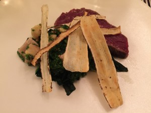 Beef, marrow and spinach