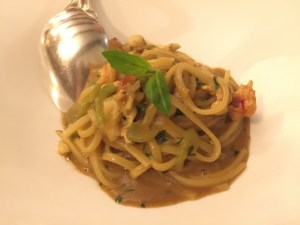 Linguini with fresh lobster ragu and