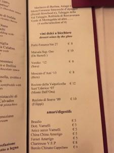 dessert drinks menu
