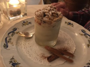 Grappa and cinnamon flavored semifreddo with meringued pine nuts
