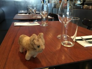 Frankie checks out the table set up