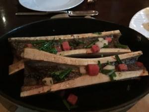 Brick oven roasted bone marrow with pickled radish