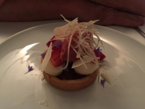 rhubarb and strawberry tart, juniper berries, balsamic, white chocolate celery
