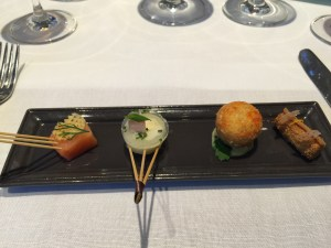 Amuse bouche: Smoke salmon, herring and pickled jelly, meat filled, gingerbread with cream