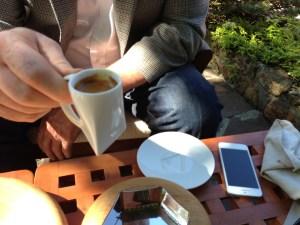 Triangular coffee cup and saucer