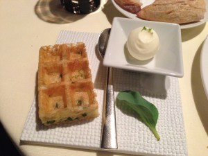 Sour cream, Brussels Waffle, sea lettuce to go with caviar mix