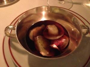 Vegetable ravioli in root vegetable broth