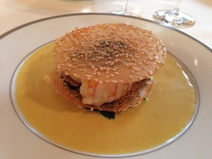 Langoustines and curry sesame wafer with spinach