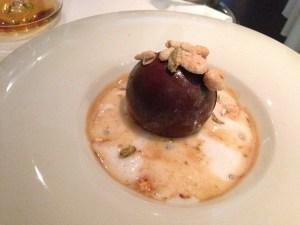 Dark chocolate with hazelnut ice cream, white rum foamed expresso with caramel