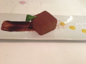 Mousse of wild cherries with chocolate and lemon