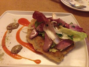 Duck ham-pecan pancake with chicories and hachiya persimmon mustard