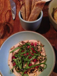 Chicken liver mousse, puffed rice, pomegranate