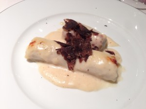 Catalan cannelloni (veal and pork) with black truffles