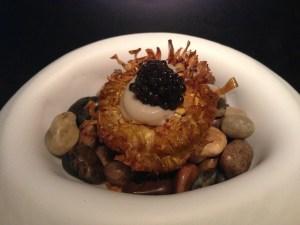 artichoke with caviar