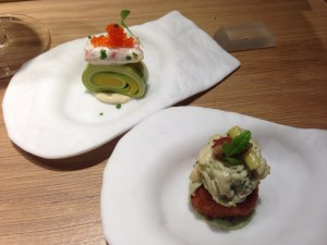 Crab maki causa with umeboshi mayonnaise; Fried causa with chcken and huacatay