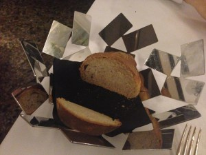 bread comes in a unusual basket