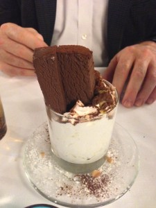 Gianduia ice cream and whipped cream