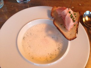 White asparagus soup with poached egg, ham crostini adn chervil