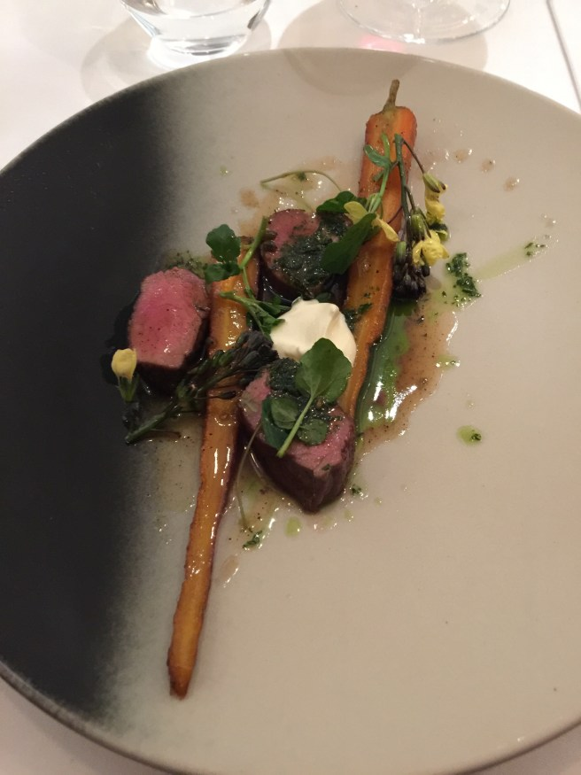 Lamb with watercress, mint sauce, cream fraiche, and carrots