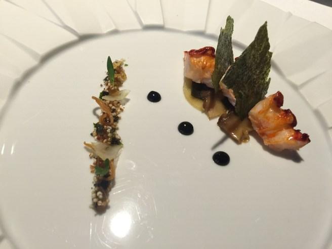 Prawn cocktail with daikon and crisp seaweed,