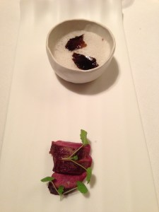 Rare hare and chocolate fondue