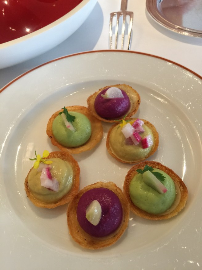 Amuse bouche: Vegetable tartlets including parsley and carots