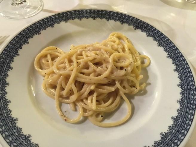 spaghetti with natural lard and pecorino cheese
