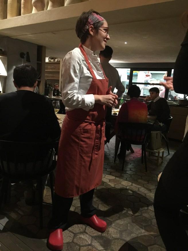 Chef Alba Esteve Ruiz makes her rounds as dinner winds down