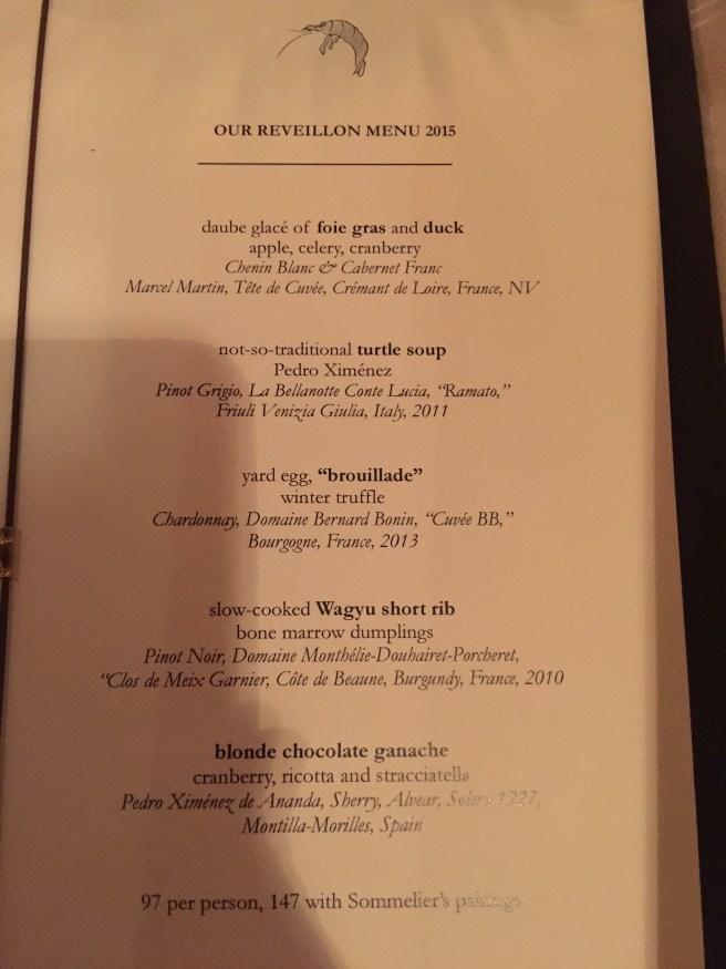 Reveillon menu