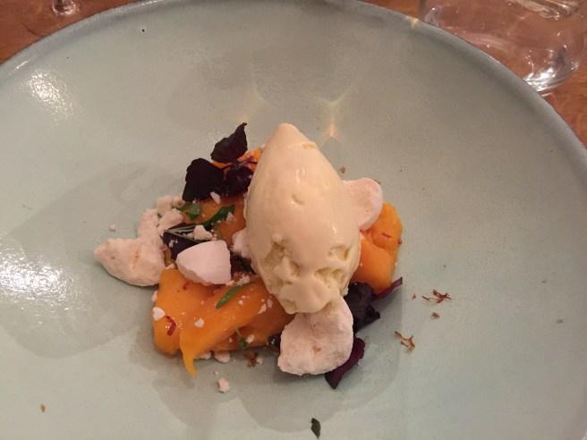 Mango and home-made tarragon ice cream