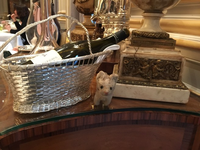 Frankie sat with the wine basket