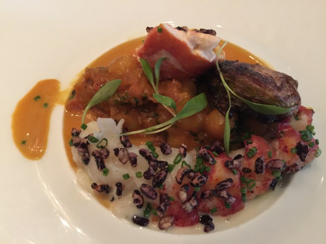 Maine lobster with puffed black  rice, brussel sprouts and coconut curry