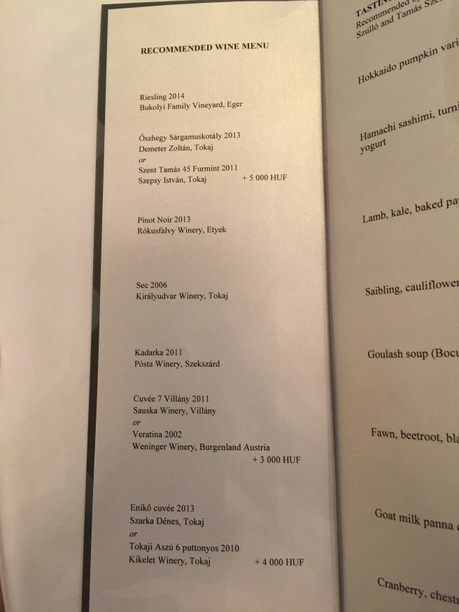 Recommended wine menu