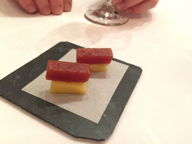 Cow milk cheese aged for 10 months and quince