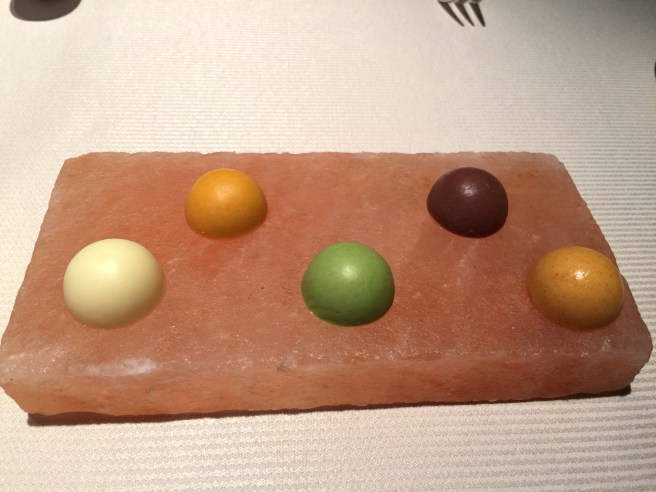 butter selections: plain, red pepper, basil and garlic, dark olive, duck fat