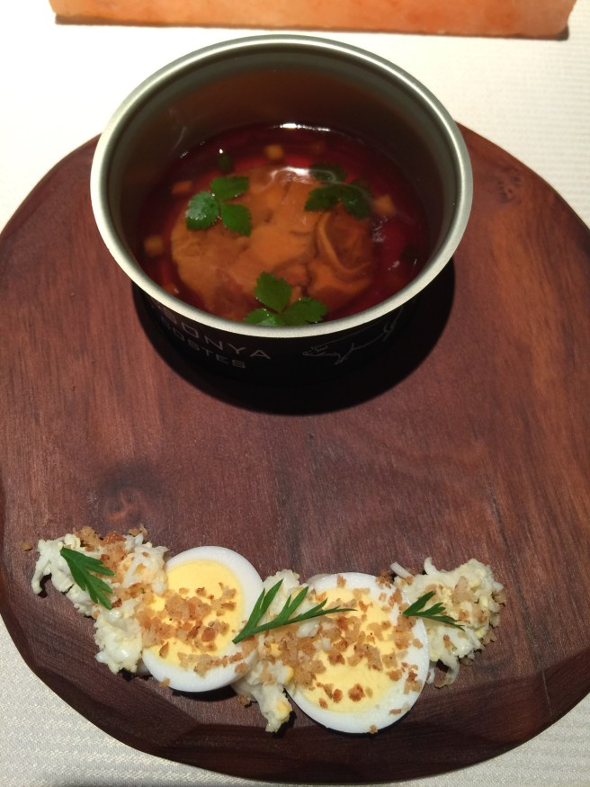 Pork jelly and pork with egg, horseradish and buttered crumbs