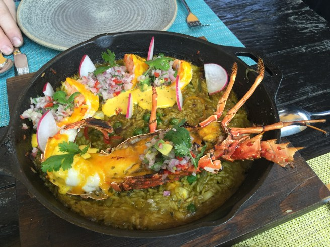 Arroz Norteño de la horno: wood fired lobster and prawns with rice