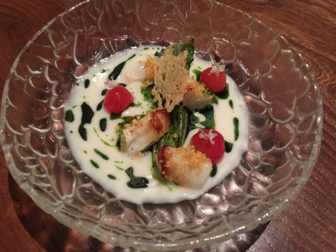 Scallops, Cesar's leche de tigre, roasted lettuce, basil and tomatoes