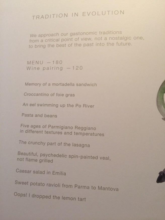 Evolution tasting menu