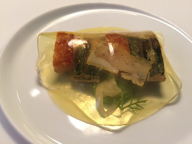 Mackerel, suckling pig and saffron