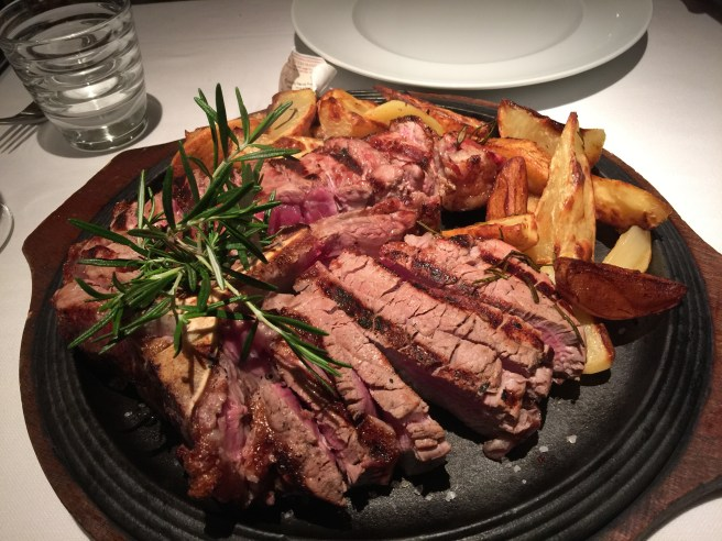Porterhouse steak and potatoes