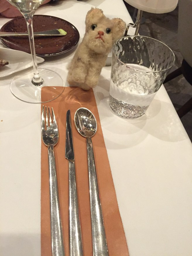 Frankie was knocked off balance by the different flatware