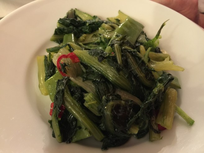 Contorno, greens with garlic and pepper