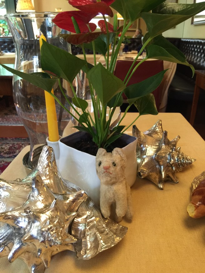 Frankie checked out the table flowers and decorations