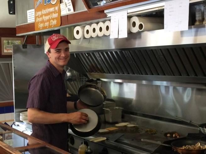 Jonny making burgers