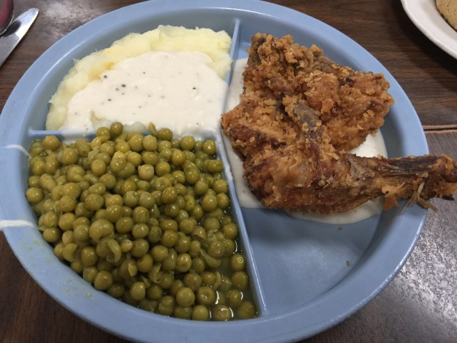 Daily special, fried chicken, mashed potatoes and peas