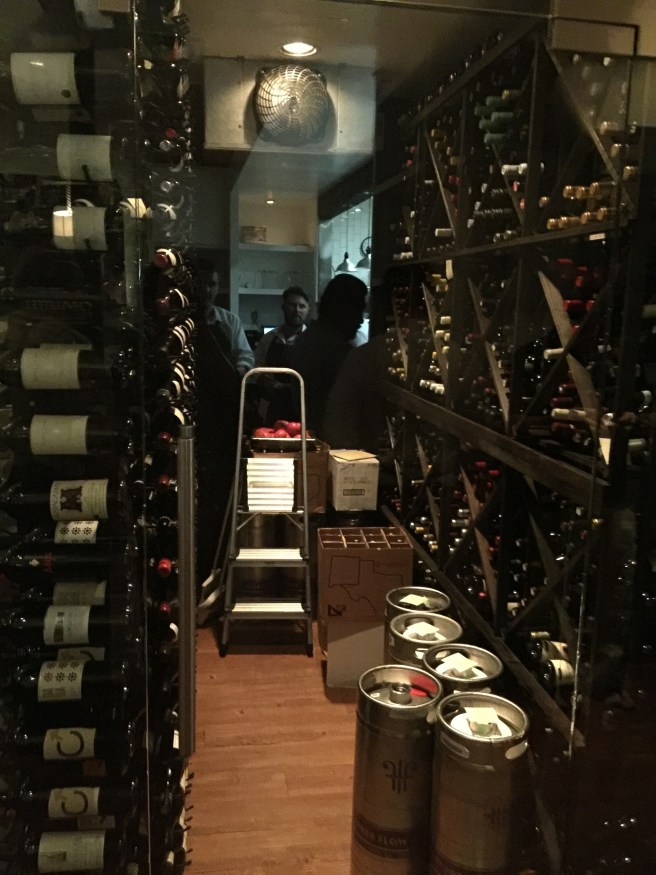 looking into the wine cellar